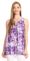 Sakkas Donata Summer Casual Tank Top V-neck Sleeveless Tie-dye with Batik#color_Purple