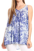 Sakkas Donata Summer Casual Tank Top V-neck Sleeveless Tie-dye with Batik#color_Royal blue