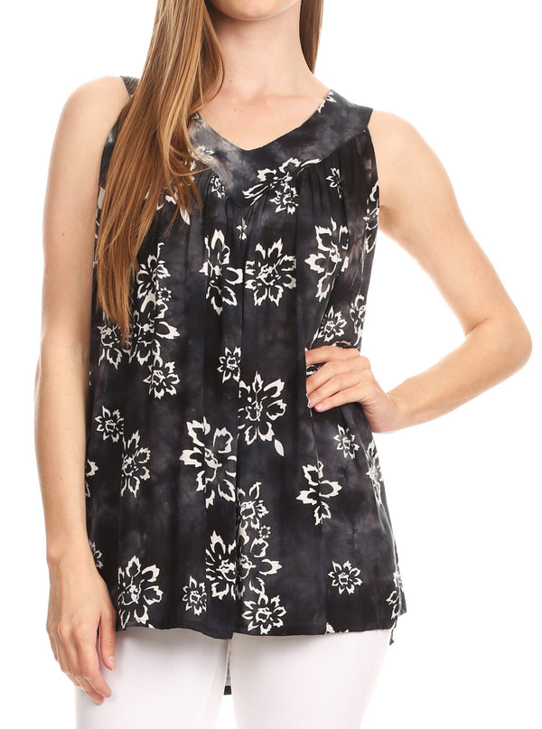 Sakkas Rossana Sleeveless Fresh Summer Top Blouse Tie Dye and Batik Relax Fit#color_Black