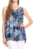 Sakkas Rossana Sleeveless Fresh Summer Top Blouse Tie Dye and Batik Relax Fit#color_Navy