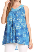 Sakkas Rossana Sleeveless Fresh Summer Top Blouse Tie Dye and Batik Relax Fit#color_Royal Blue