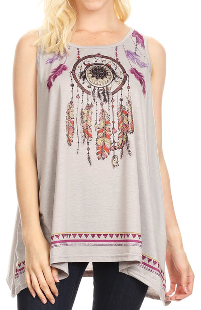 group-Gray (Sakkas Lucia Womens Summer Sleeveless Casual Tank Top Bohemian Print Soft Jersey)
