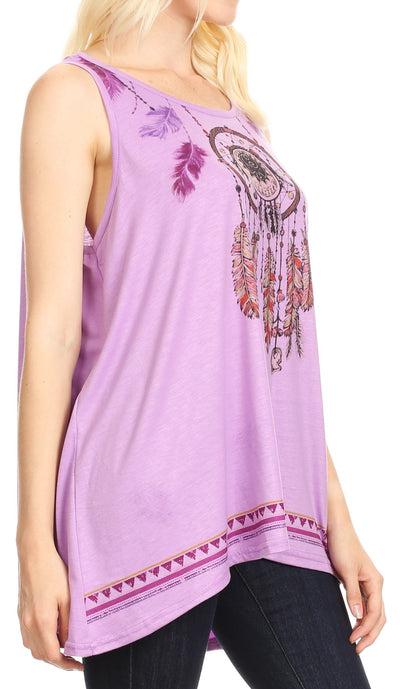 group-Lilac (Sakkas Lucia Womens Summer Sleeveless Casual Tank Top Bohemian Print Soft Jersey)