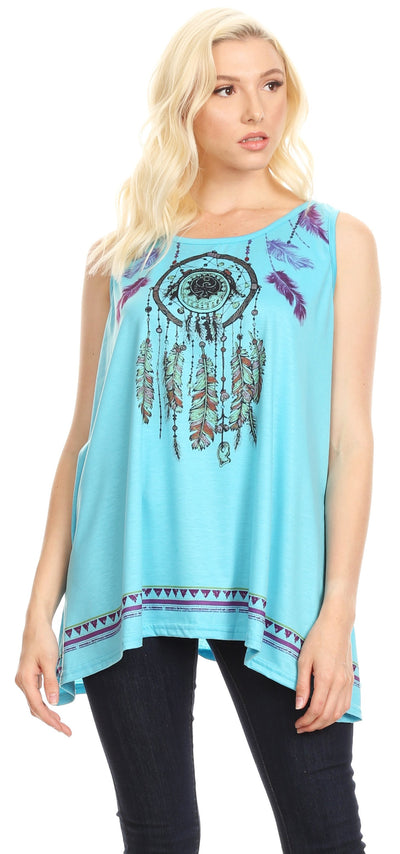 group-Turquoise (Sakkas Lucia Womens Summer Sleeveless Casual Tank Top Bohemian Print Soft Jersey)
