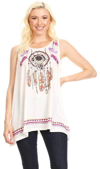 group-White (Sakkas Lucia Womens Summer Sleeveless Casual Tank Top Bohemian Print Soft Jersey)