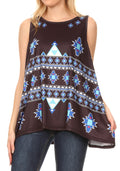 Sakkas Juliana Womens Summer Sleeveless Tank Top Printed Dashiki Jersey Knit#color_17302-black