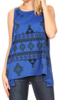 Sakkas Juliana Womens Summer Sleeveless Tank Top Printed Dashiki Jersey Knit#color_17302-blue