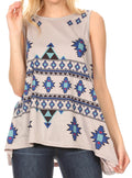 Sakkas Juliana Womens Summer Sleeveless Tank Top Printed Dashiki Jersey Knit#color_17302-gray