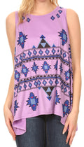 Sakkas Juliana Womens Summer Sleeveless Tank Top Printed Dashiki Jersey Knit#color_17302-purple