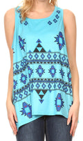 Sakkas Juliana Womens Summer Sleeveless Tank Top Printed Dashiki Jersey Knit#color_17302-turquoise