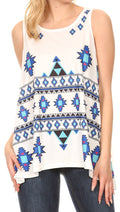 Sakkas Juliana Womens Summer Sleeveless Tank Top Printed Dashiki Jersey Knit#color_17302-white