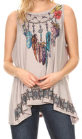 Sakkas Juliana Womens Summer Sleeveless Tank Top Printed Dashiki Jersey Knit#color_17304-gray