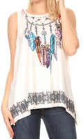 Sakkas Juliana Womens Summer Sleeveless Tank Top Printed Dashiki Jersey Knit#color_17304-white