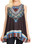 Sakkas Juliana Womens Summer Sleeveless Tank Top Printed Dashiki Jersey Knit#color_Black