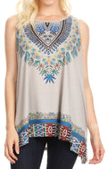 Sakkas Juliana Womens Summer Sleeveless Tank Top Printed Dashiki Jersey Knit#color_Gray