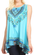 Sakkas Juliana Womens Summer Sleeveless Tank Top Printed Dashiki Jersey Knit#color_Turquoise
