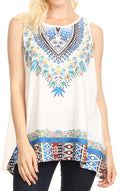 Sakkas Juliana Womens Summer Sleeveless Tank Top Printed Dashiki Jersey Knit#color_White