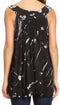 Sakkas Sana Tie Dye Sleeveless Embroidered V-Neck Tank Tunic Top Blouse / Cover Up#color_Black