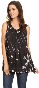 Sakkas Sana Tie Dye Sleeveless Embroidered V-Neck Tank Tunic Top Blouse / Cover Up