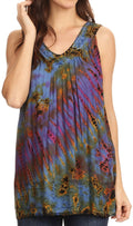 Sakkas Sana Tie Dye Sleeveless Embroidered V-Neck Tank Tunic Top Blouse / Cover Up#color_Multi