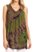 Sakkas Sana Tie Dye Sleeveless Embroidered V-Neck Tank Tunic Top Blouse / Cover Up#color_Olive