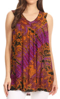 Sakkas Sana Tie Dye Sleeveless Embroidered V-Neck Tank Tunic Top Blouse / Cover Up#color_Purple