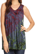 Sakkas Sana Tie Dye Sleeveless Embroidered V-Neck Tank Tunic Top Blouse / Cover Up#color_Raspberry