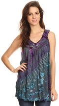 Sakkas Sana Tie Dye Sleeveless Embroidered V-Neck Tank Tunic Top Blouse / Cover Up#color_Teal