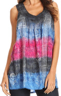 Sakkas Renee Dip Dye Floral Print Tank with Sequins and Embroidery#color_Black / Pink