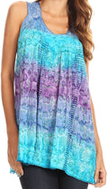 Sakkas Renee Dip Dye Floral Print Tank with Sequins and Embroidery#color_Blue / Purple
