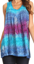 Sakkas Renee Dip Dye Floral Print Tank with Sequins and Embroidery#color_Fuchsia / Turq