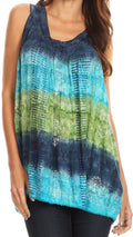 Sakkas Renee Dip Dye Floral Print Tank with Sequins and Embroidery#color_Navy / Green