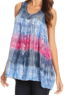 Sakkas Renee Dip Dye Floral Print Tank with Sequins and Embroidery