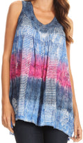 Sakkas Renee Dip Dye Floral Print Tank with Sequins and Embroidery#color_Navy / Pink