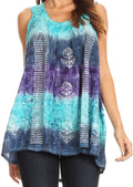 Sakkas Renee Dip Dye Floral Print Tank with Sequins and Embroidery#color_Purple / Turquoise