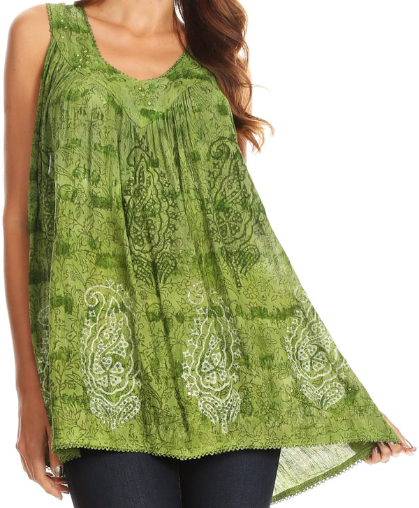 Sakkas Alyse Crinkle Tie Dye Tank with Sequins and Embroidery#color_Green
