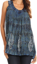 Sakkas Alyse Crinkle Tie Dye Tank with Sequins and Embroidery#color_Navy