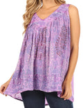 Sakkas Alyse Crinkle Tie Dye Tank with Sequins and Embroidery#color_Purple