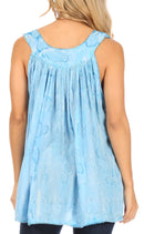 Sakkas Alyse Crinkle Tie Dye Tank with Sequins and Embroidery