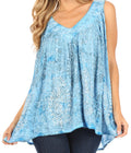 Sakkas Alyse Crinkle Tie Dye Tank with Sequins and Embroidery#color_Teal