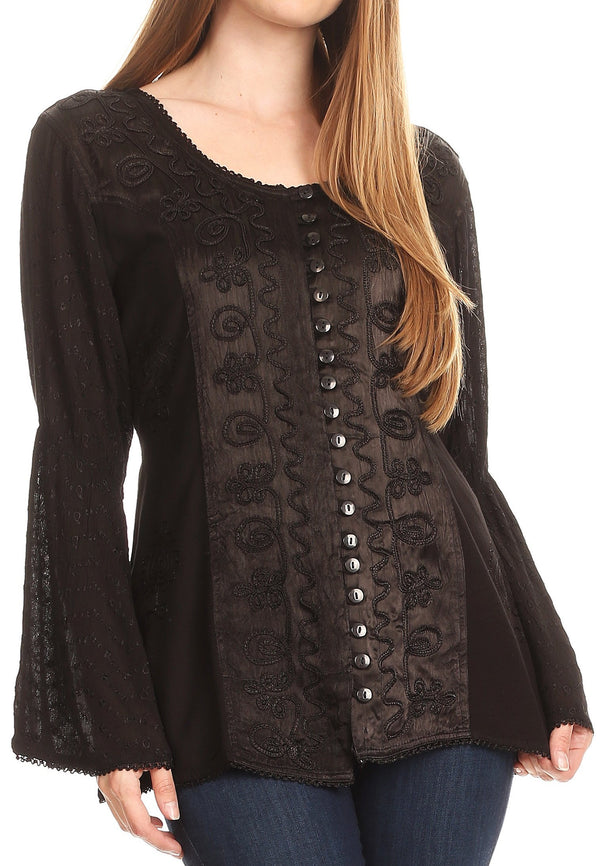 Sakkas Soraya Embroidered Eyelet Button Down Blouse Top with Long Sleeves and Ties#color_Black