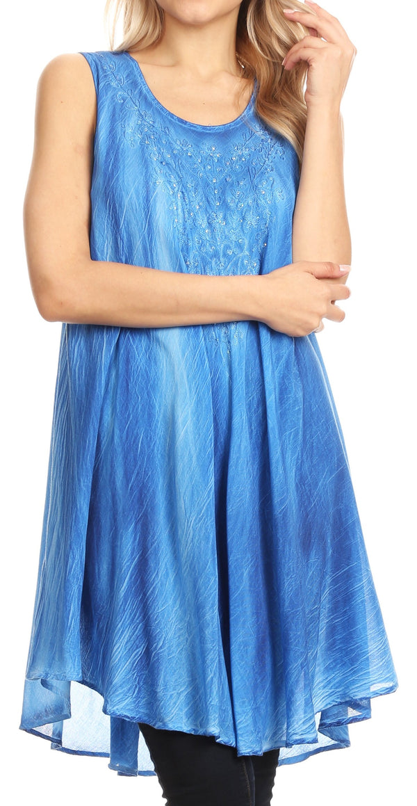 Sakkas Lana Ombre Tie Dye Embroidered Tank Style Long Summer Top | Cover Up#color_Blue