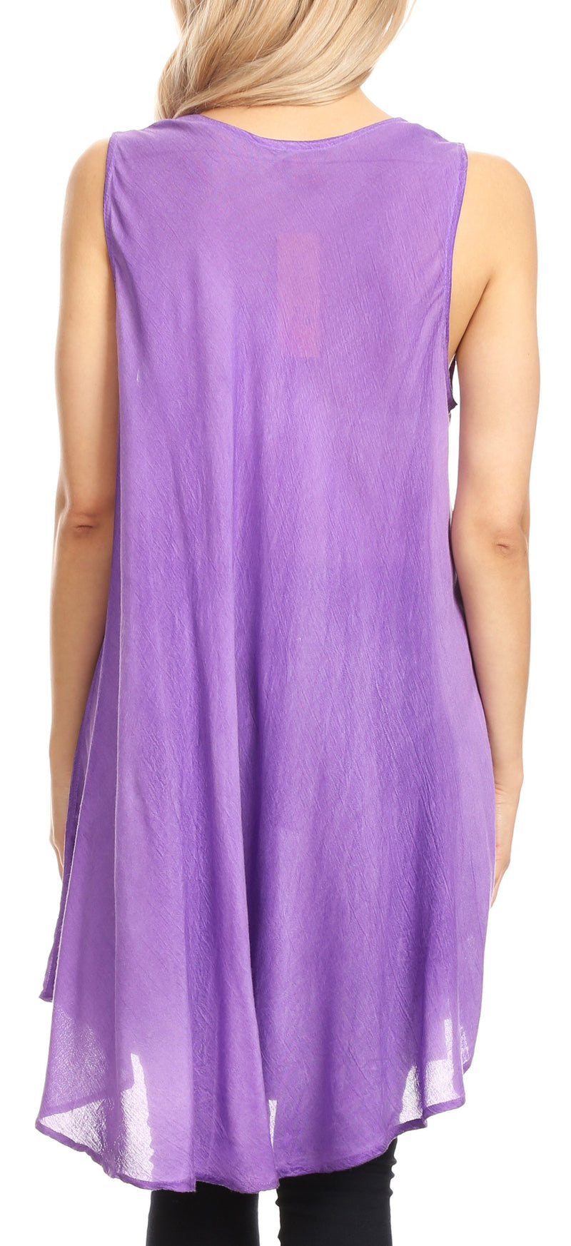 Sakkas Lana Ombre Tie Dye Embroidered Tank Style Long Summer Top | Cover Up