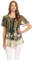 Sakkas Celia Marble Batik Short Sleeve Blouse/Top with Embroidery and Crochet