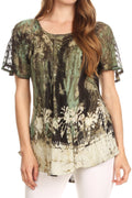 Sakkas Celia Marble Batik Short Sleeve Blouse/Top with Embroidery and Crochet#color_Green