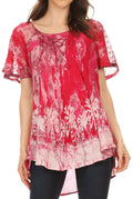Sakkas Celia Marble Batik Short Sleeve Blouse/Top with Embroidery and Crochet#color_Pink