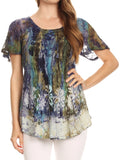 Sakkas Celia Marble Batik Short Sleeve Blouse/Top with Embroidery and Crochet#color_Turquoise