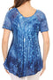 Sakkas Mira Tie Dye Two Tone Sheer Cap Sleeve Relaxed Fit Embellished Tunic Top
