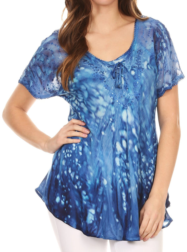 Sakkas Mira Tie Dye Two Tone Sheer Cap Sleeve Relaxed Fit Embellished Tunic Top#color_1-Blue