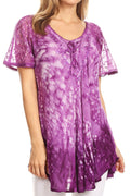 Sakkas Mira Tie Dye Two Tone Sheer Cap Sleeve Relaxed Fit Embellished Tunic Top#color_2-Purple
